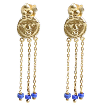 Gorgoneion Charm Earrings - 18K GP