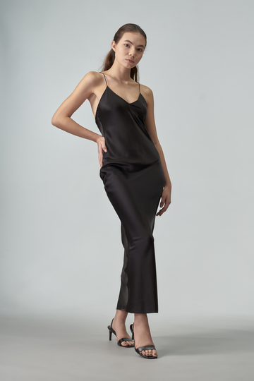 Tiffany Silk Slip Maxi Dress Black