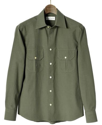 Semi-spread Collar Dobby Plain Green