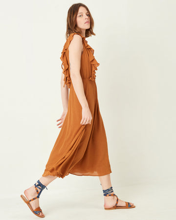 Eolia Long Backless Dress Tobacco