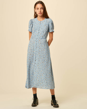 Adelaida Short Sleeves Dress Ashley Blue