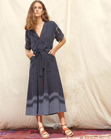 Condesa Belted Dress Navy
