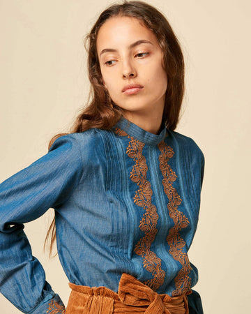 Ginie Blouse Brodee Denim Blue