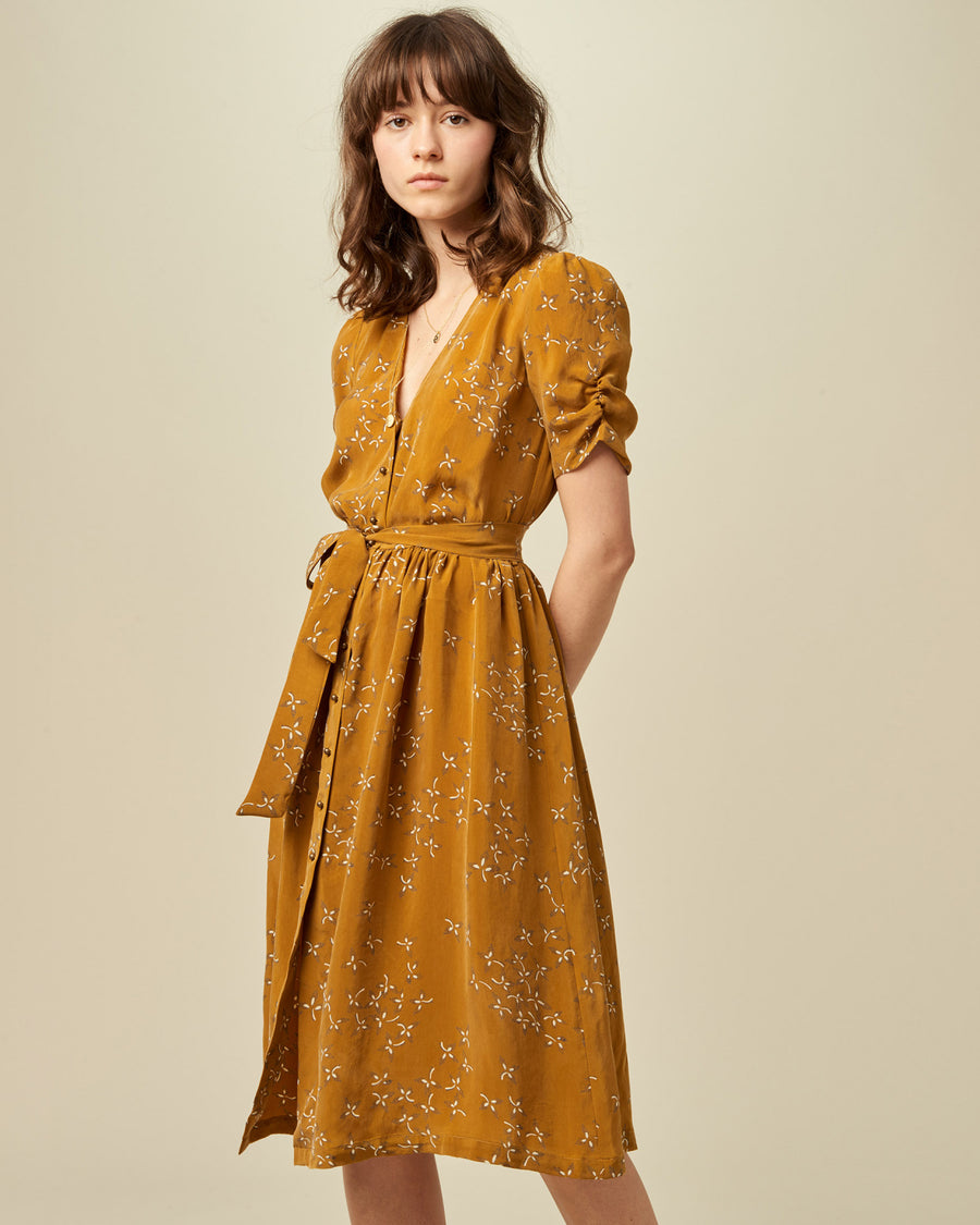 Roselili Long Belted Dress Golden