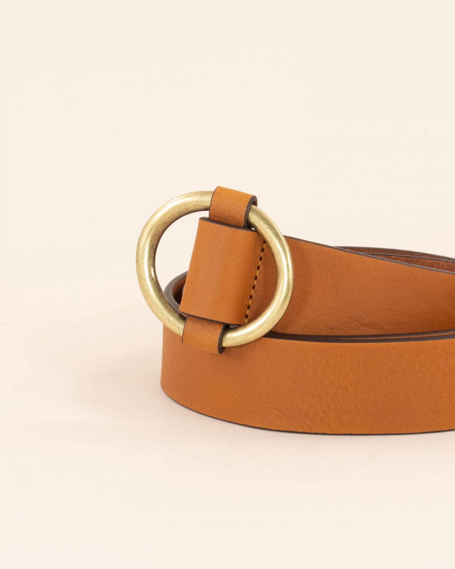 Tisao Belt With Round Buckle Golden Brown