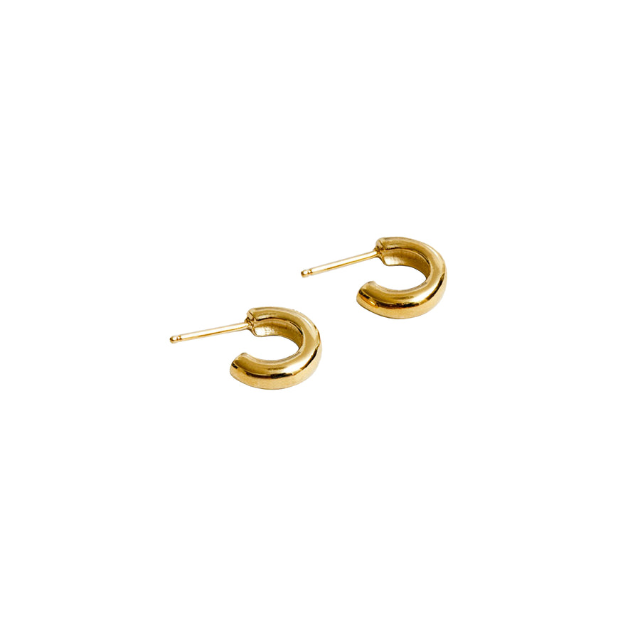 Abbie Hoop Ear Simple Small 14K Gold GP SS Posts