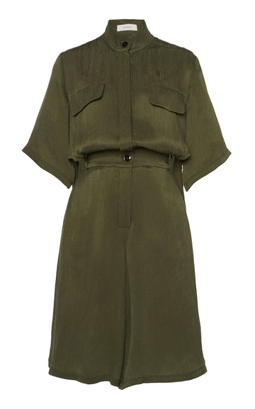 Sally Shirt Detail Jumpsuit Olive