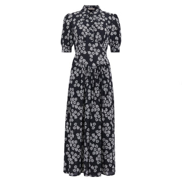 After Hours Flowers Tea Dress Black/Off White