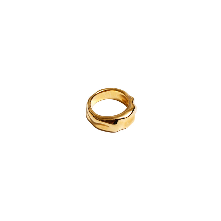 Aida Thick Organic Ring Band 14K GP