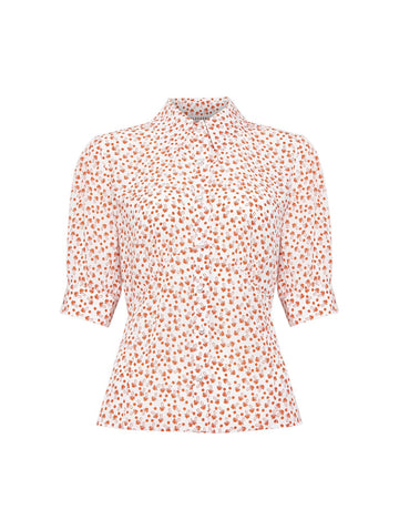 Alice Shroom Blouse Off White/Blood Orange