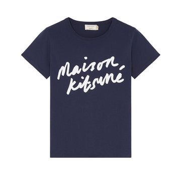 Tee Shirt Handwriting Navy (Women)