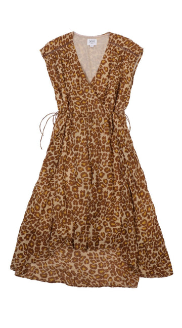 Dress Belma Gaze Leopard Fauve