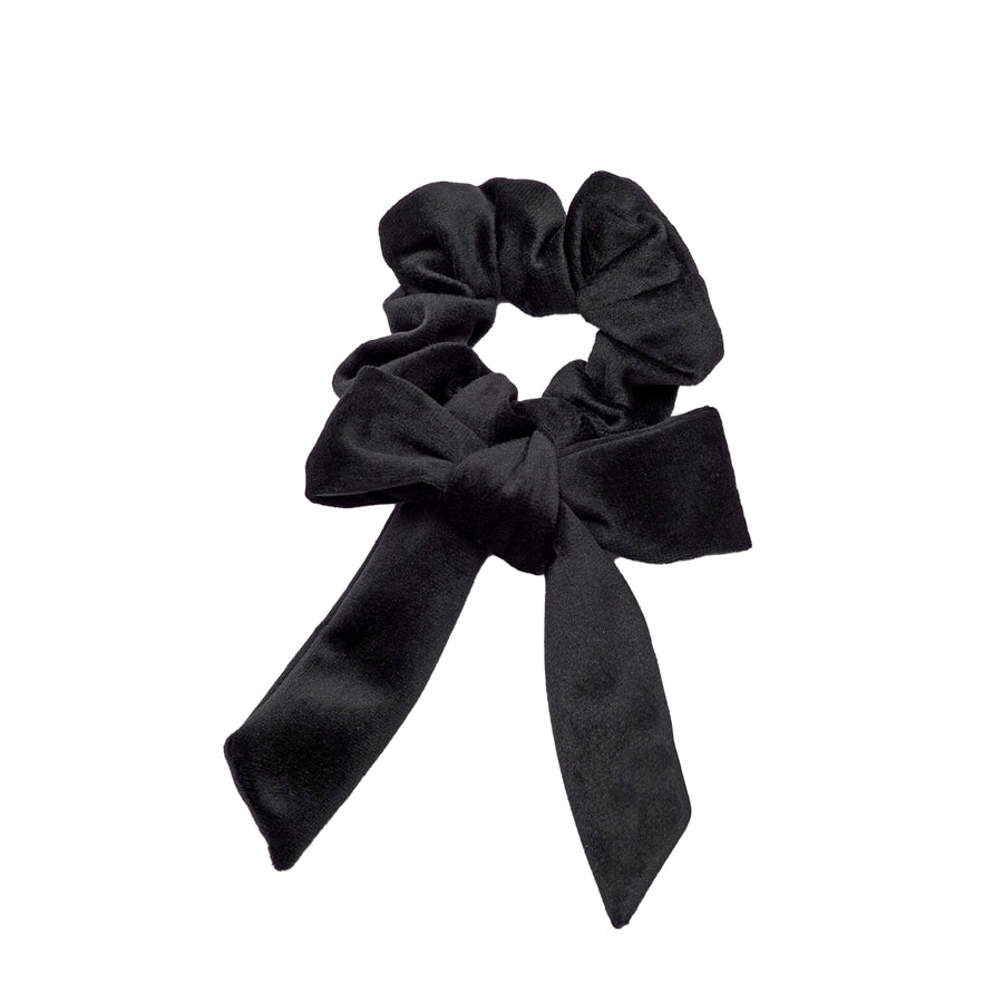 Velvet Bow Scrunchie Black