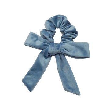 Velvet Bow Scrunchie Powder Blue