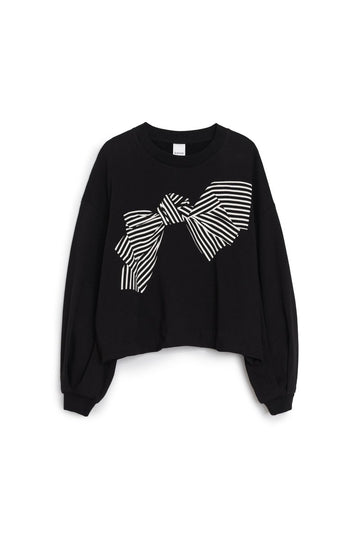 Bow Print Sweater Black