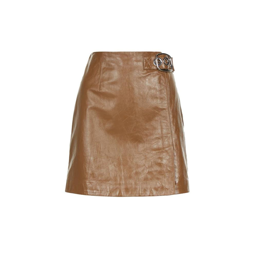 Leather Buckle Mini Skirt Olive Brown