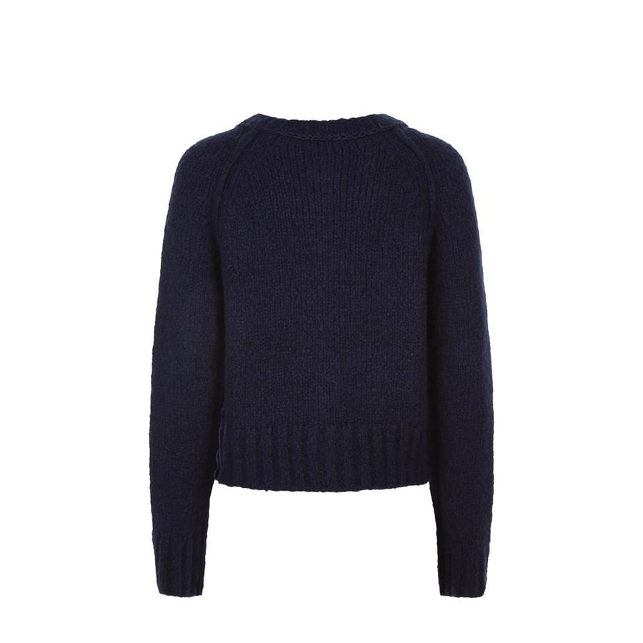 Crew Neck Cardigan Navy