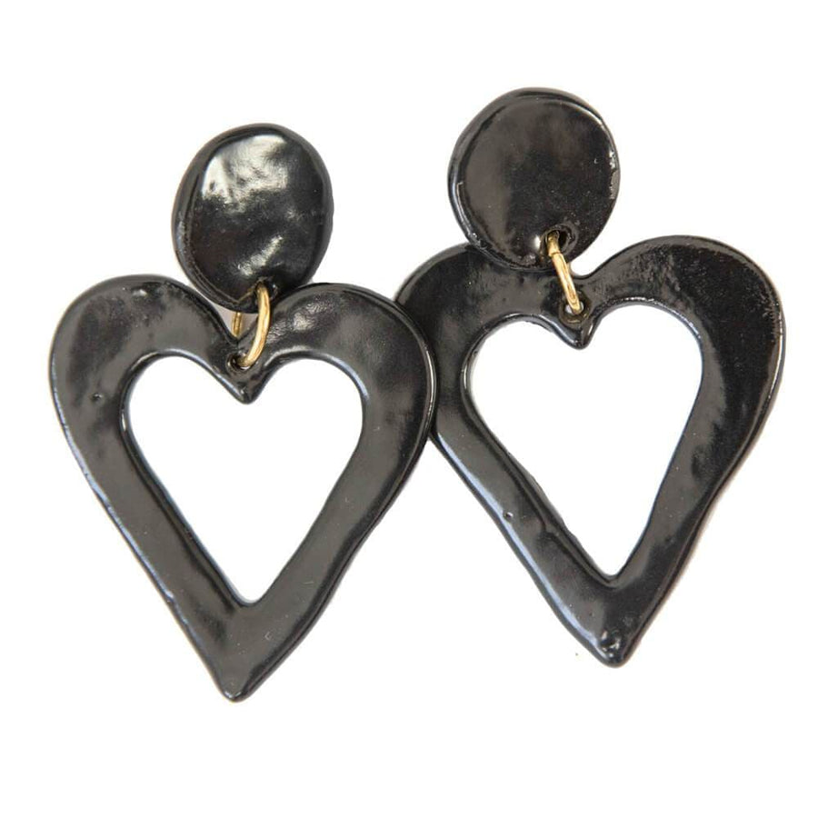 Clay Earrings Heart Black XXL