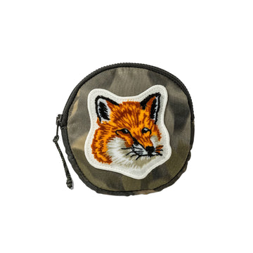 Coin Purse Velvet Fox Head Patch Khaki Print U