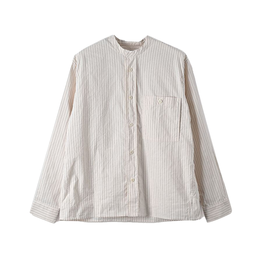 Collarless Painters Shirt Vintage Stripe OffWhite/Black