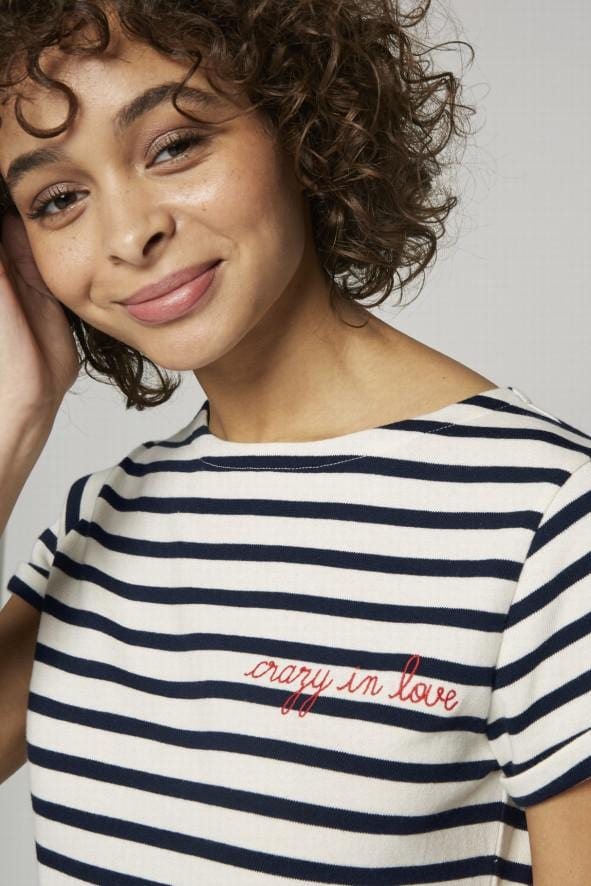 Sailor Shirt SS Crazy In Love Ivory Navy (Women)