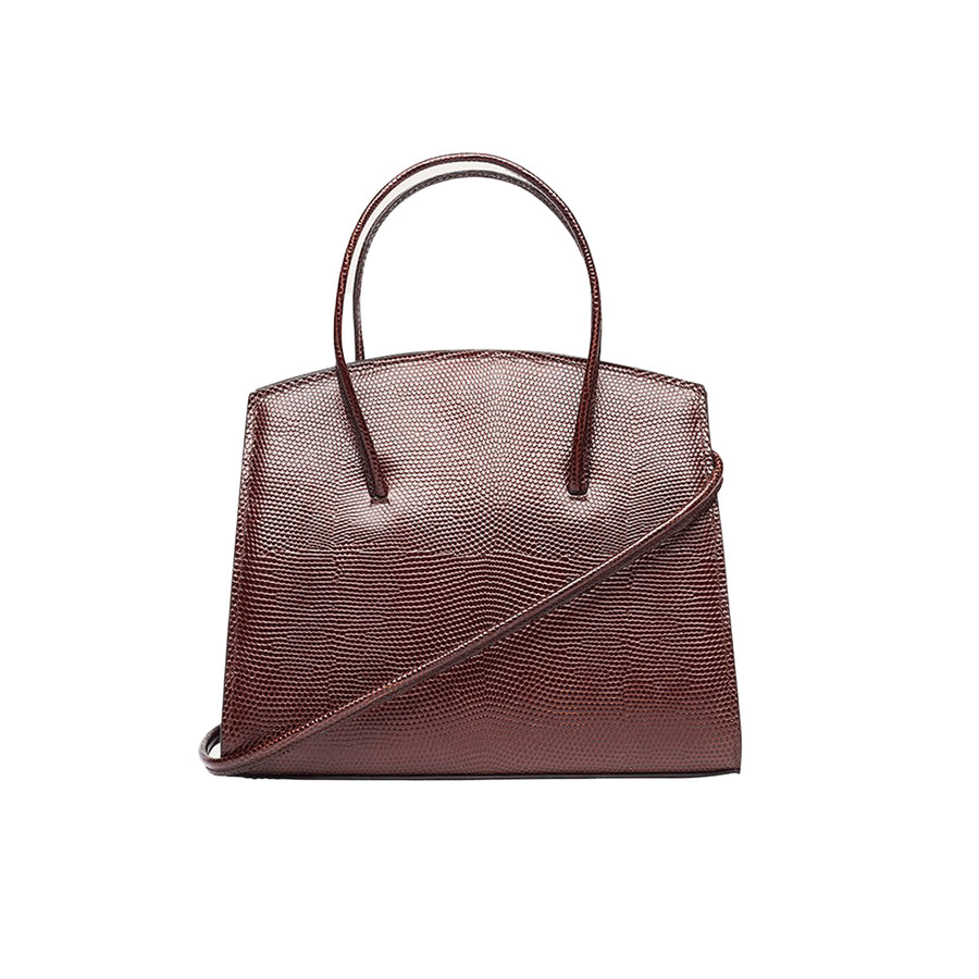 Minimal Mini Tote Lizard Embossed Calf Dark Brown