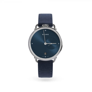 Watch Date Blue Dial 35mm with navy strap - 'kapok exclusives'