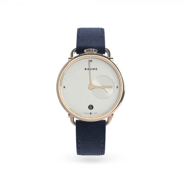 Watch Date Silver White Dial 35mm navy strap - 'kapok exclusives'