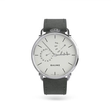 Watch Day Silver White Dial 41mm with grey strap - 'kapok exclusives'