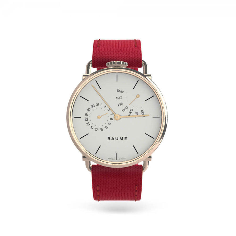 Watch Day Silver White Dial 41mm with red strap - 'kapok exclusives'