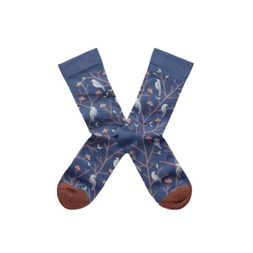 Socks Arabesque Oiseaux Denim (men)