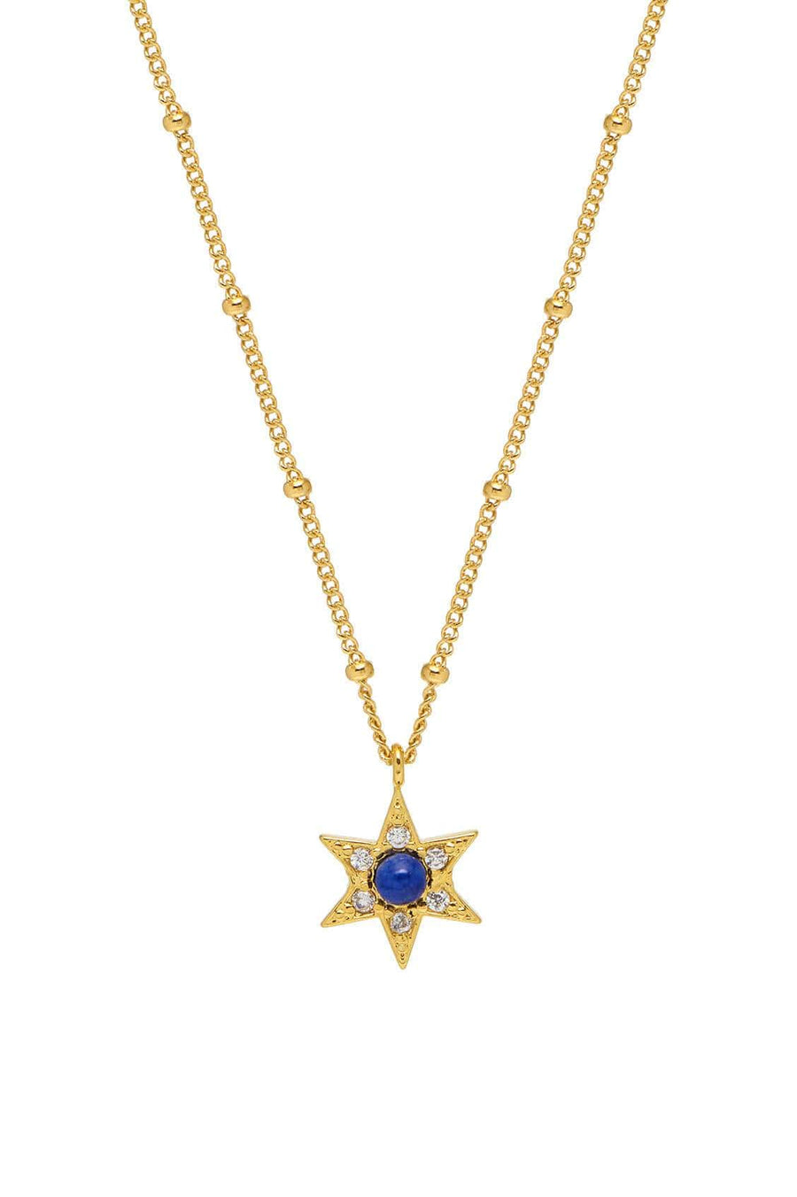 Lapis CZ Star Necklace Gold Plated