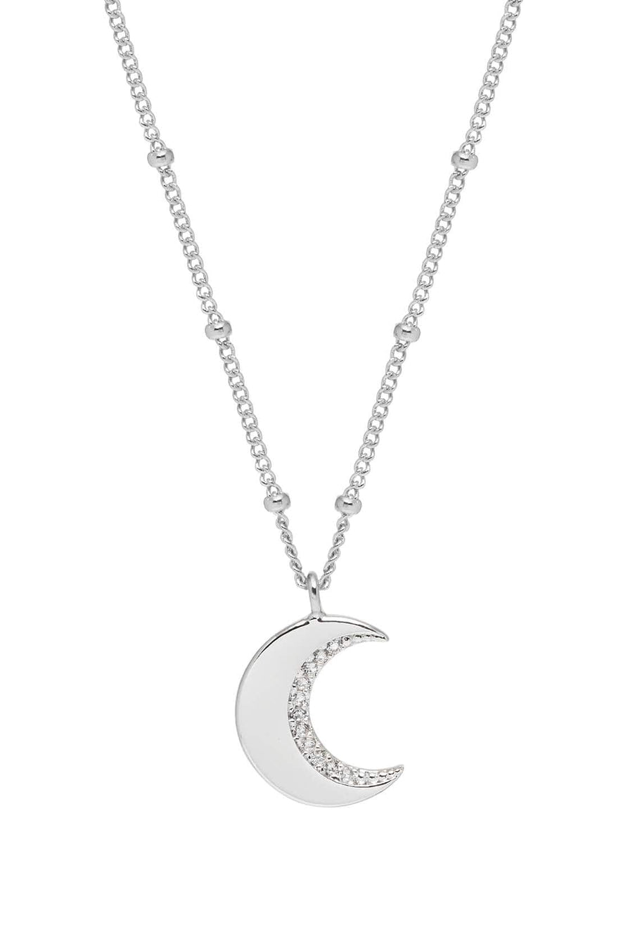 CZ Moon Necklace Silver Plated