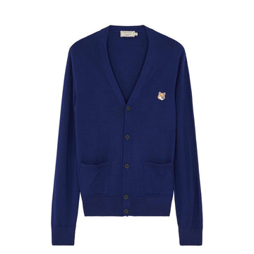 Cardigan Merinos Fox Head Patch Navy (Men)