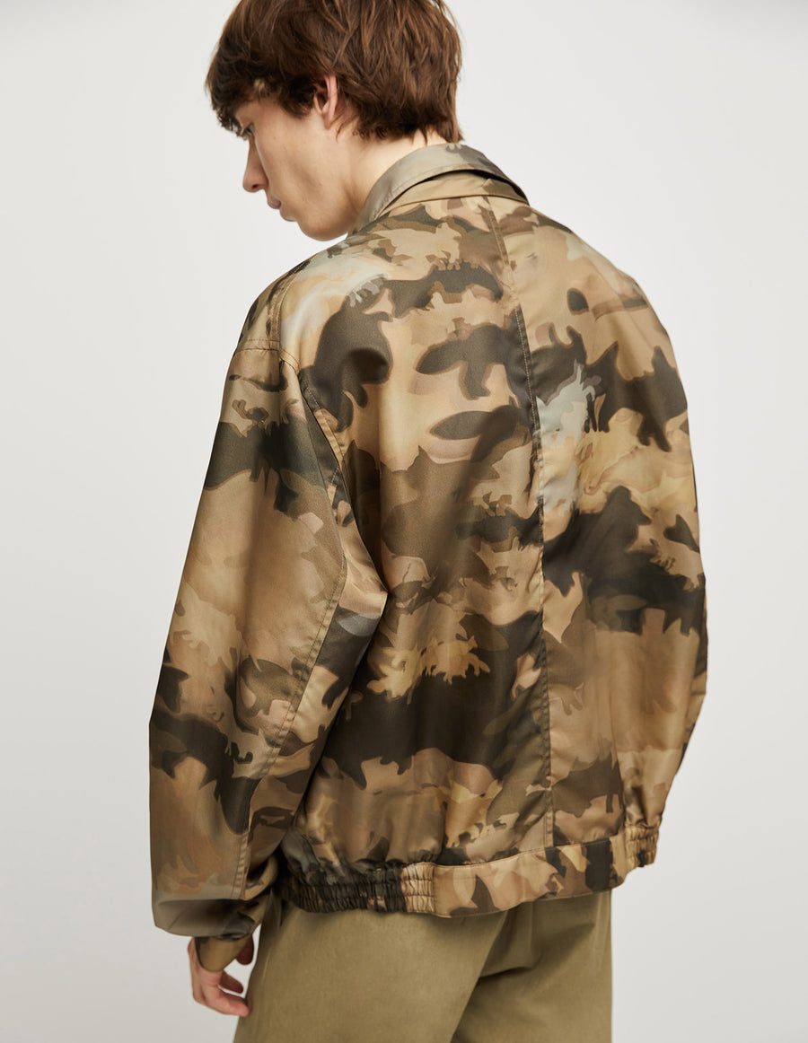 Blouson Elasticated Khaki Print