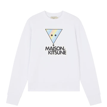Sweatshirt Rainbow Triangle Fox Print Off White (Men)