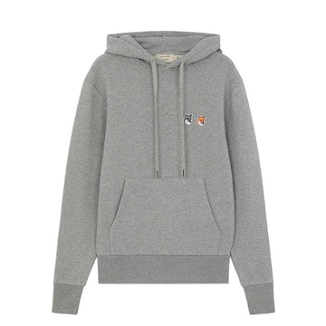 Hoodie Double Fox Head Patch Grey Melange (Unisex)