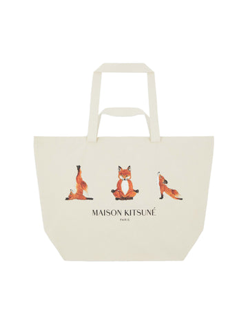 XXL Tote Bag 3 Yoga Foxes Ecru U
