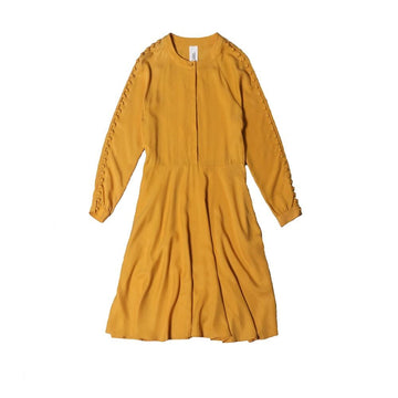 josephine side buttoned dress honey gold
