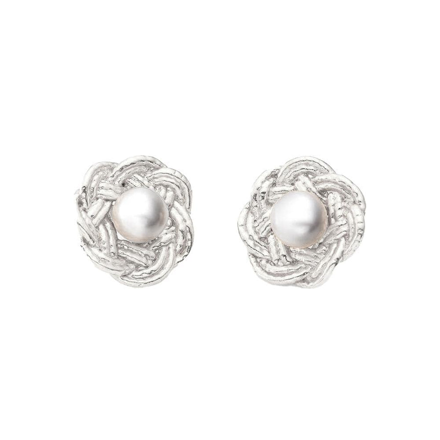 Mizuhiki Flowers & Pearl Earrings Silver
