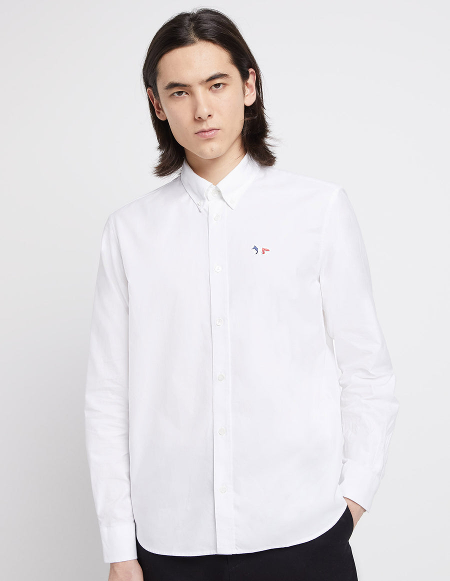 Tricolor Fox Patch Classic Shirt White (men)