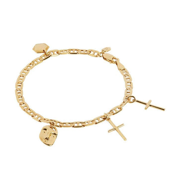 Friend Charm Bracelet Gold High Polished Small