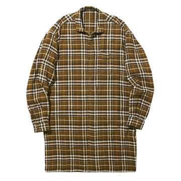 Wide Collar Long Shirt Flannel Beige