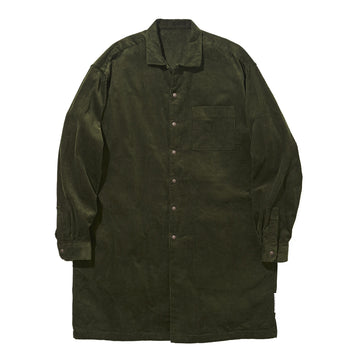 Wide Collar Long Shirt Corduroy Khaki