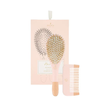 Hair Kit Pink - Brush Boar And Nylon + Wooden Comb