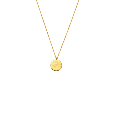 Hammered Disc Pendant Necklace Gold Plated