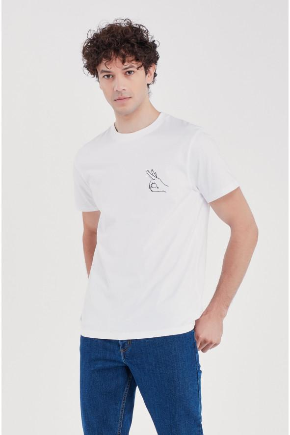 Heavy Tee Shirt Hand OK White (Men)
