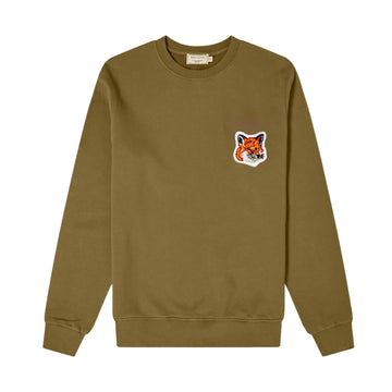 Sweatshirt Velvet Fox Head Patch Classic Khaki (Unisex)