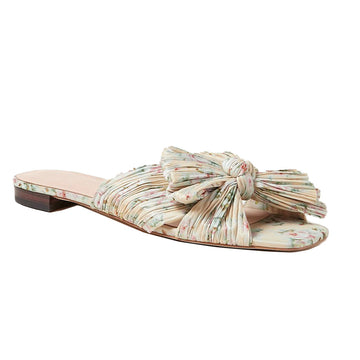 Daphne Pleated Knot Flat Sandal Tan Floral