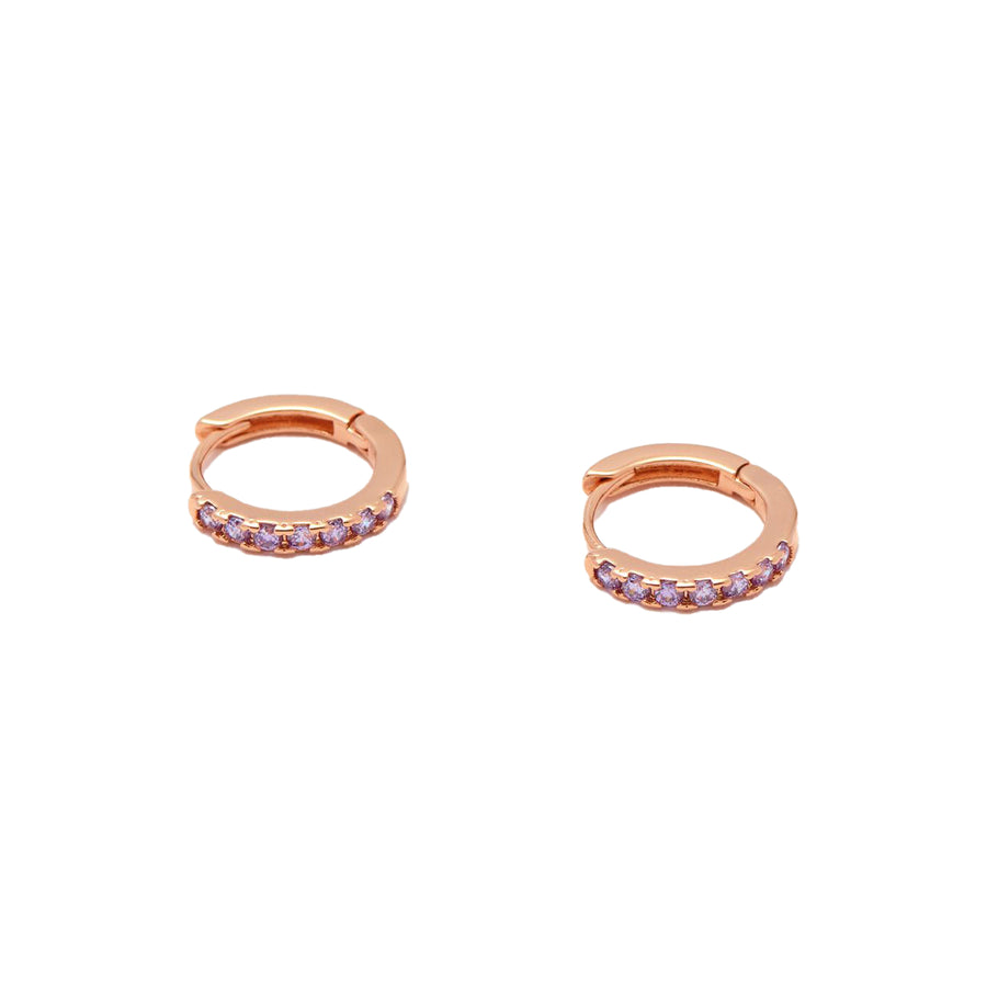 Lavender CZ Hoop Earrings Rose Gold Plated